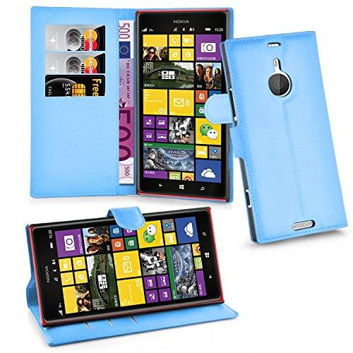 Cadorabo Hülle für Nokia Lumia 1520 Hülle in Pastel blau Handyhülle mit Kartenfach und Standfunktion Case Cover Schutzhülle Etui Tasche Book Klapp Style Pastell-Blau