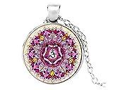Precioso collar con colgante de flor de la vida, medallón Yoga Chakra mandala collar de moda para mujer.