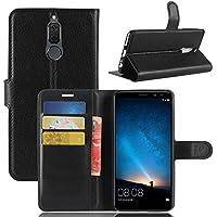 ECENCE Huawei Mate 10 Lite Schutz-Hülle Handy-Tasche Case Cover Book-Case Wallet Brieftasche Book-Style mit Standfunktion Standfuss Schwarz 11020108