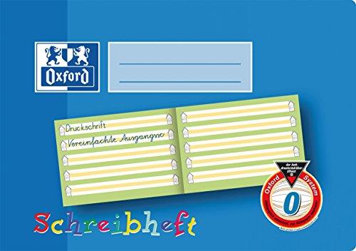 OXFORD 100050105 Schreibheft Schule 10er Pack A5 quer Lineatur 0 (1. Klasse) mit farbigem Mittelband 16 Blatt - Schreiben lernen in der Grundschule und Förderschule Lo Oxford