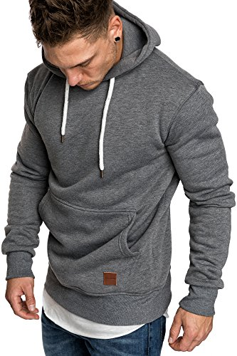 Amaci&Sons Herren Basic Kapuzenpullover Sweatjacke Pullover Hoodie Sweatshirt 4023 Anthrazit L