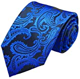 Paul Malone Krawatte blau paisley Hochzeitskrawatte Bräutigam (schmale 6cm)