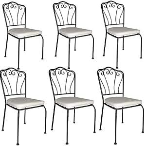 Sedie in ferro battuto per tavolo giardino con cuscino bianco 6 pezzi giardino e - Tavolo giardino ferro battuto ...
