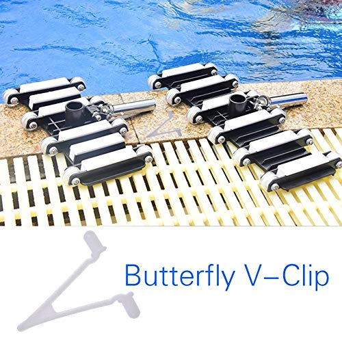 Butterfly V Clips,Spring Locking Pins Replacement Set,6 Pcs Standard Pole Attachment Clips for Vacuum Head Skimmer Net Leaf Rake