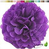 10 Papier Pompons 12cm SET ( lila / purpur 465 ) // PomPom Bommel Papier Kugel Seidenpapier Pompon Blumen Deko Hängedeko Raumdeko