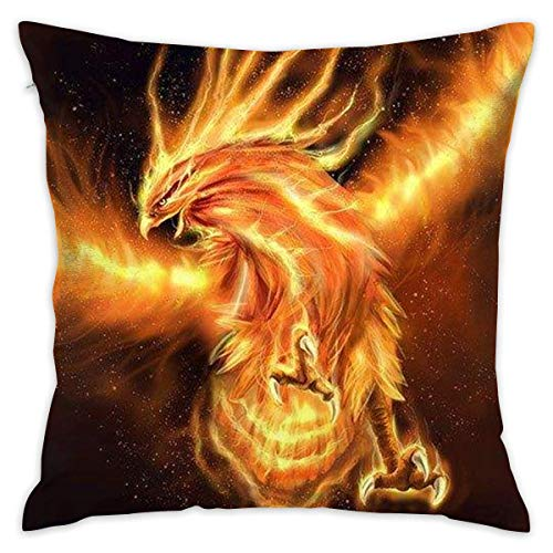 Fire Phoenix Cushion CoveCase Pillow Custom Zippered Square Pillowcase 18x18 (one Side) Throw Pillows for Couch