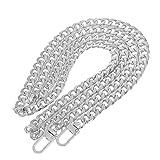 perfk Taschenzubehör Metall Taschenbügel Kette Trageriemen Schulterriemen Schultergurt Tragegurt Taschenkette - Silber, 120 cm