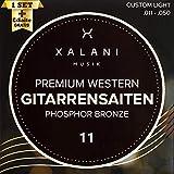 XALANI Gitarrensaiten Westerngitarre I ★ Bonus: 1 hohe E-Saite und 3 Plektren I Phosphor Bronze Saiten Set für Akustikgitarre