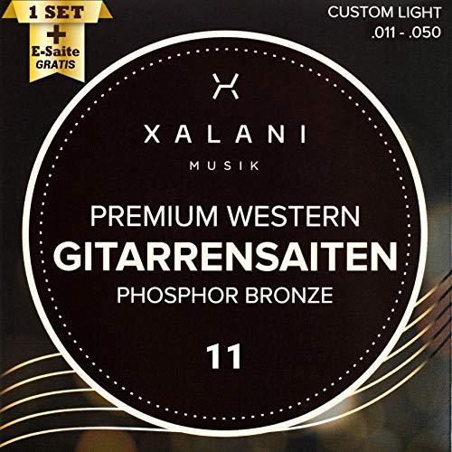 Gitarrensaiten Westerngitarre von XALANI I ★ Bonus: 1 hohe E-Saite und 3 Plektren I Phosphor Bronze Saiten für Akustikgitarre