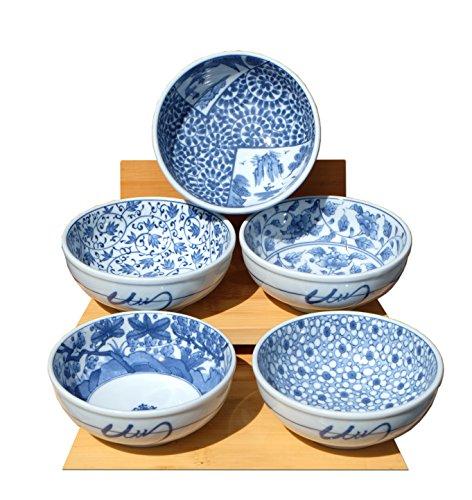 Cuencos japonés floral azul y blanco colección x5 width=