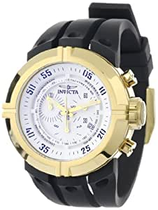 Invicta Men's Iforce Contender Dual Strap Chronograph Watch 0843 with IPG Case, Matt White Dial and Black PU Strap