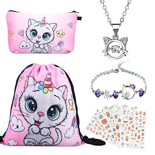 Geschenke für Mädchen 5 Pack, Katze Kordelzug Rucksack Und Make-up Tasche,Mädchen Halskette, Niedlich Katze Armband Armkette Verstellbar,und Aufkleber für Kinder -