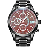 SONGDU Herren Cool Bunter Spiegel Chronograph Armbanduhr Analoge Quarz mit Datum Edelstahl Armband Uhr (Alle Schwarz)