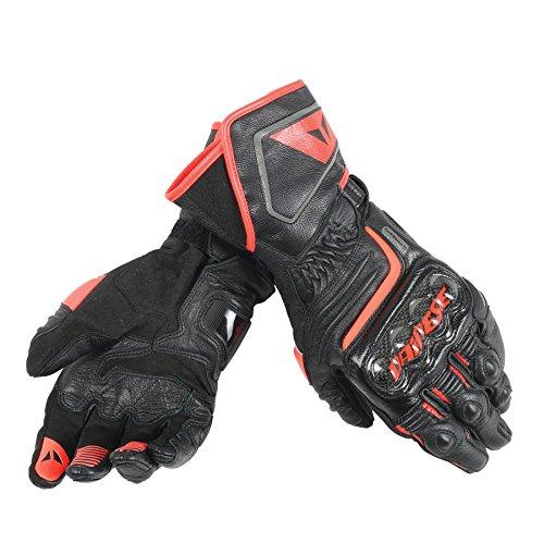 Dainese-CARBON D1 LONG Handschuhe, Schwarz/Schwarz/Fluo-Rot, Größe XL