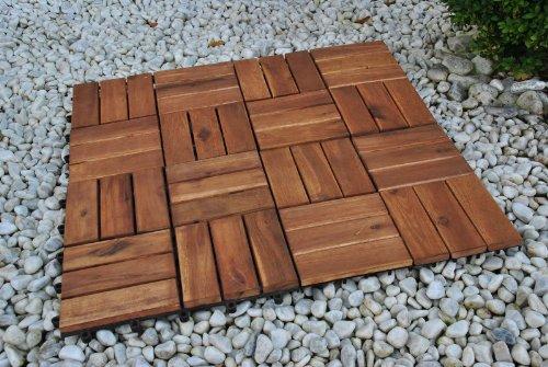 SAM® Terrassenfliese 02 aus Akazien-Holz, FSC® 100 % zertifiziert, 11er Spar-Set für 1 m², Garten-Fliese in 30 x 30 cm, Bodenbelag mit Drainage, Klick-Fliesen für Garten Terrasse Balkon -