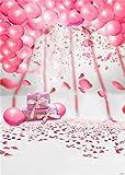 Kate 1.5x2.2m Fotohintergrund Geburtstag Rosa Ballons with Blütenblatt Hintergründe fur Mädchen Smash Cake Party