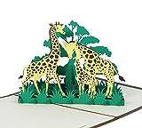 Giraffen - Klappkarte / 3D Pop-Up Karte - Grußkarte, Glückwunschkarte, Gutschein-Karte, Dankeskarte, Geschenkkarte