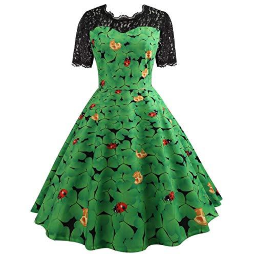Mymyguoe Damen St Patrick's Day Kleid Retro Lace -