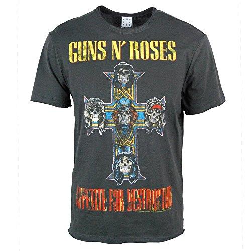 Amplified Offizielles Guns N Roses–Appetite For Destruction–Herren Holzkohle T Shirt