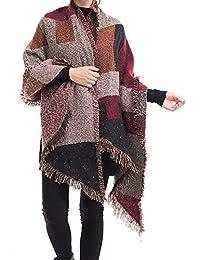 a5b5eda08c0e vitihipsy Foulard pour Femme surdimensionné écharpe Pashmina Wrap Hiver  Patchwork Cape Foulard Couverture Foulard