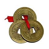 Divya Mantra Metal Chinese Feng Shui IChing Amulet Good Luck Coins (Brown)
