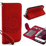 Urcover® Apple iPhone SE / 5 / 5s Handy Schutz-Hülle | Lotus Pattern Wallet Rot | Kartenfach & Standfunktion | Flip Case | Trendy Tasche | Cover Schale | Smartphone Zubehör