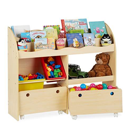 Relaxdays Kinderregal, Spielzeug Aufbewahrung, Kunststoff Boxen, Bücherregal, MDF, HxBxT: 88 x 108 x 29 cm, Holzoptik, Beige