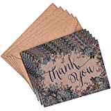 Image of (Pack of 10) Floral Blue Wedding Forget-me-not Thank You Cards and Envelopes Vintage Brown Recycled A6 (Pack of 10) Blank cards Notecards Party Greeting (Stationery, Note Cards) - Comparsion Tool