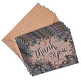 (Pack Of 10) Floral Blau Hochzeit Vergissmeinnicht Thank You Karten und Umschläge Vintage braun recyceltem A6(10Stück) blanko Karten Aufstellkarten Party Grußkarte (Stationery, Note Karten)
