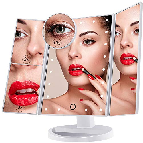 Espejo de Maquillaje Iluminado, 21 Luces LED Espejo Cosmético de Tocador, Pantalla Táctil de Aumento...
