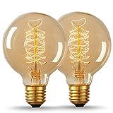 2 Pack LOHAS® Dimmbar G80 40W Retro Spirale Wolfram Glühlampen , Antike E27 Edison Vintage Birne, Warmweiß 2700K, Dekorative Glühbirnen, 220-240V AC