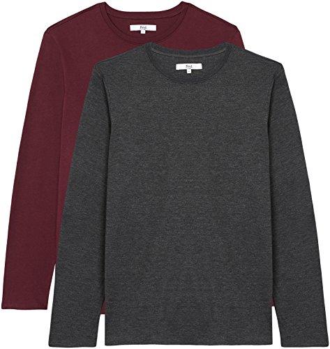 FIND Herren Regular Fit Langarmshirt, 2er Pack, Mehrfarbig (Charcoal Marl/Tawny Port), 52 (Herstellergröße: Large)