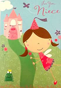 Carte d'anniversaire «For you, Niece» (Pour toi ma nièce) avec princesse, château, grenouille et fleurs pailletés et en relief Rose