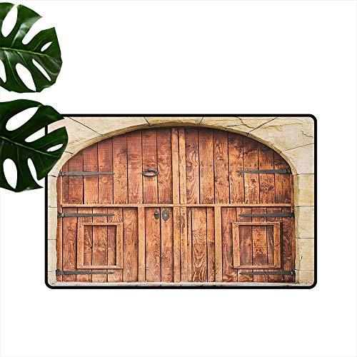 RenteriaDecor Teppich, rustikal, maschinenwaschbar, klein, spanischer Stil, dunkel gebeiztes Holz, Tür geheime Garten, mit Gitterfenster, Fußmatte für Kinderzimmer 18