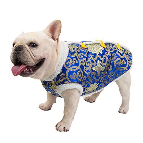 Obestseller Hundebekleidung Herbst und Winter Verdickt Chinese New Year Kostüm Hundebekleidung Dicke Bulldogge Hund Fans Neujahr Tang Anzug Hundebekleidung