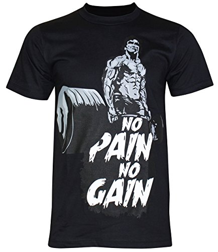 PALLAS Unisex's No Pain No Gain Gym T-Shirt Black