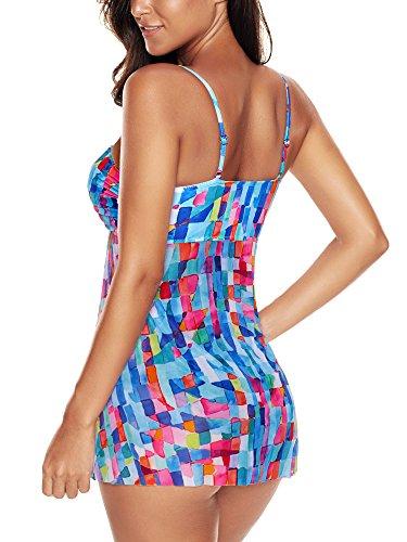 FLYILY Damen Bademode Tankinis Schwimmen Kostüm 2 Stück Badeanzug Sets Plus Größe MutilColor