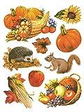 dpr. Fensterbild Set 9-tlg. Herbst Herbstfrüchte Igel Eichhörnchen Füllhorn Kürbis statisch selbsthaftend Fenstersticker Fensterdeko Herbstdeko