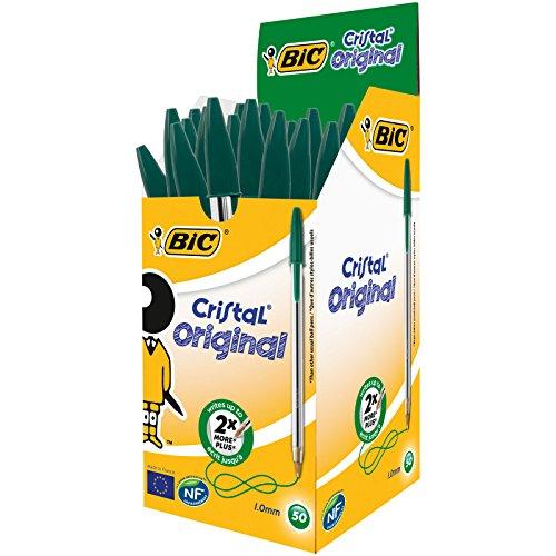 BIC Cristal Original - Caja de 50 unidades, bolígrafos punta media (1,0 mm), color verde