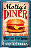 Blechschild SignMolly´s Diner Burger Fast Food Amerika USA 20x30 cm Metal XES105