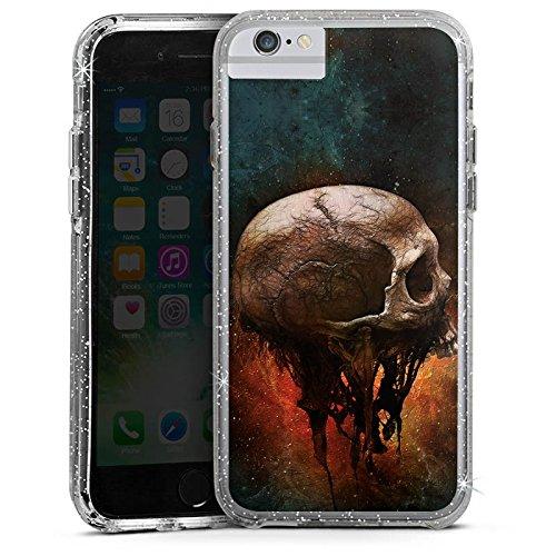 Apple iPhone X Bumper Hülle Bumper Case Glitzer Hülle Skull Halloween Scream Bumper Case Glitzer silber