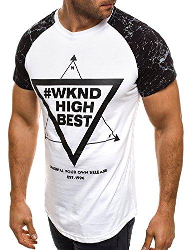 OZONEE Herren T-Shirt mit Motiv Kurzarm Rundhals Figurbetont ATHLETIC 1026 Weiß_JS-SS093