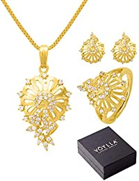 Voylla Traditional Gold Brass Pendant Set For Women