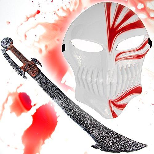 Rüstung Kostüm Ork - HALLOWEEN Set Spezial - Bleach Maske rot + Ork Schwert