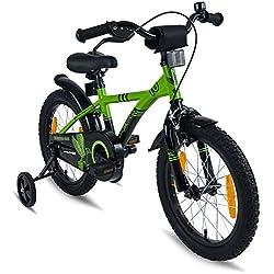 Prometheus Bicicleta Infantil | 16 Pulgadas | niño y niña | Verde Negro | A Partir de 5 años | con ruedines y Freno de contrapedal | 16? Modelo BMX 2019