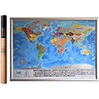 Detailed Scratchable Travel Map with 196 Country Flags, 732 Cities, 76 Depths, 13 Highest Peaks, Vibrant Colours, Great Scratchable World Map Gift for Any Traveler