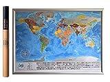 Detaillierte Rubbel Weltkarte Mit Fahnen / XXL Personalisiertes Poster Zum Reisen Zu Verfolgen/ Original Geschenk Für Den Reisenden/ Einzigartiges Design Von 2Maps (Schwarz/Silber 84 x 57cm)