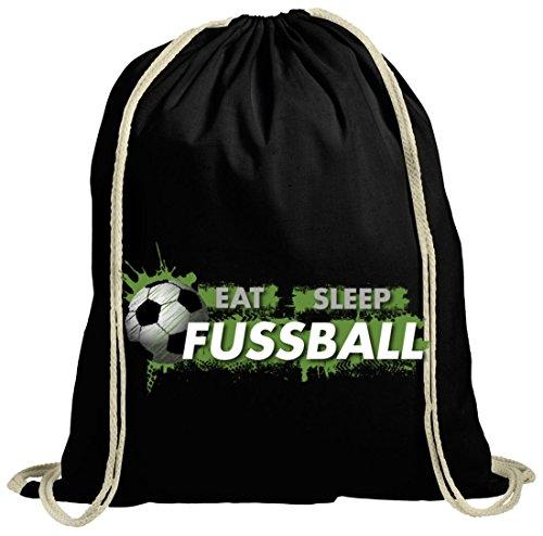 Turnbeutel Eat Sleep Fussball für Ball Sport Fans und deine ganze Mannschaft Verein schwarz natur