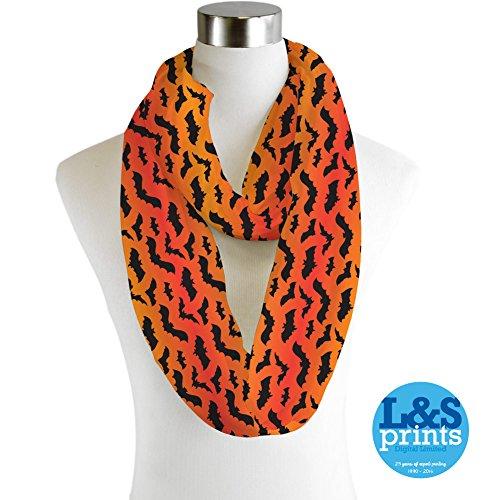 L&S PRINTS FOAM DESIGNS Halloween Fledermäuse alle über Design Infinity Schal Jersey oder Chiffon Unisex Fashion Loop Schals