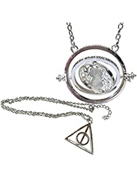 Wizardy Bijoux Double Pack Silver Hourglass y collar Trinagle con Spinning centro símbolo